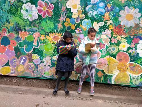 Two girls doing homework